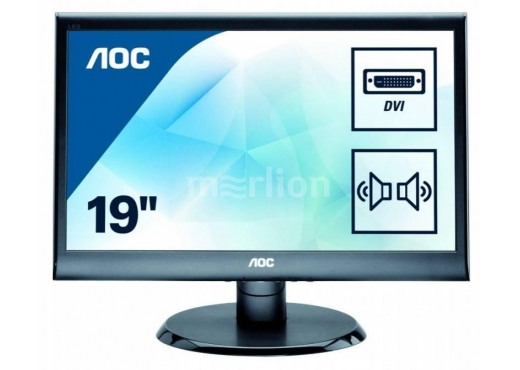 "AOC 18.5"" E975SWDA(/01) черный TN+film LED 5ms 16:9 DVI M/M матовая 250cd 1366x768 D-Sub HD READY 2.4кг"